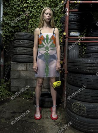 Stock Picture of Model Wears an Outfit as Part of the Ready to Ready to Wear Summer 2022, London, UK, from the House of JW Anderson