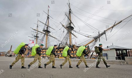 The Royal Navy's Jason Gadd, Kev Green, Jan Matthews, Leon Taylor and Suzie Parker set off from HMS Victory, Portsmouth this morning, 4th November 2010, as part the March for Honour