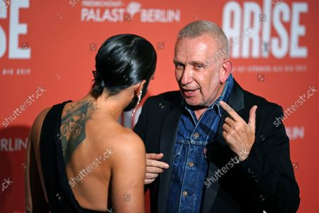 Jean-Paul Gaultier (R) and Austrian singer Thomas Neuwirth, known as the artist Conchita Wurst, attend the premiere of the 'ARISE Grand Show' at the Friedrichstadt-Palast theater in Berlin, Germany, 22 September 2021.