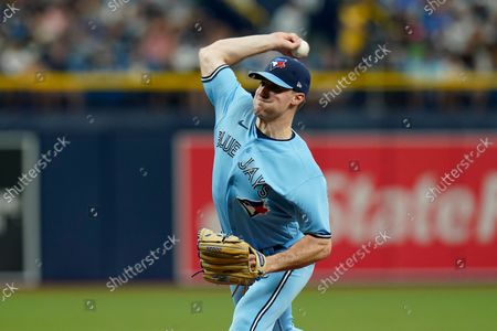 Toronto Blue Jays starting pitcher Ross Stripling during the third inning of a baseball game against the Tampa Bay Rays, in St. Petersburg, Fla