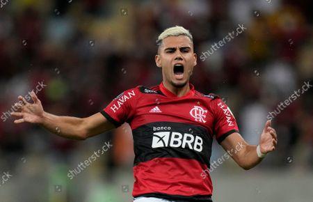 Andreas Pereira of Brazil's Flamengo reacts during a Copa Libertadores semifinal first leg soccer match against Ecuador's Barcelona at the Maracana stadium in Rio de Janeiro, Brazil