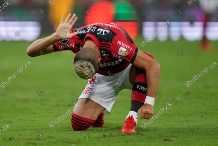 Andreas Pereira of Brazil's Flamengo reacts after missing an opportunity to score during a Copa Libertadores semifinal first leg soccer match against Ecuador's Barcelona at the Maracana stadium in Rio de Janeiro, Brazil