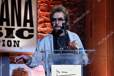Stock Photo of Record producer Tony Brown speaks at the Americana Honors & Awards show, in Nashville, Tenn