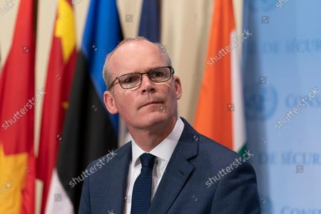 Minister for Foreign Affairs and Defense of Ireland Simon Coveney briefing on Security Council interactive dialogue with the League of Arab States at UN Headquarters. He briefs reporters on what to expect during conversation between Security Council and members of League of Arab States on situations in Middle East as well as Yemen, Iran and Libya.