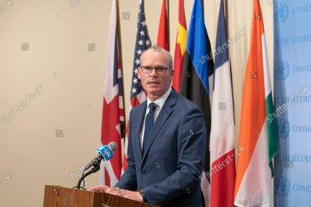 Editorial image of Minister for Foreign Affairs and Defense of Ireland Simon Coveney briefing, New York, United States - 22 Sep 2021