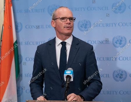 Editorial photo of Minister for Foreign Affairs and Defense of Ireland Simon Coveney briefing, New York, United States - 22 Sep 2021