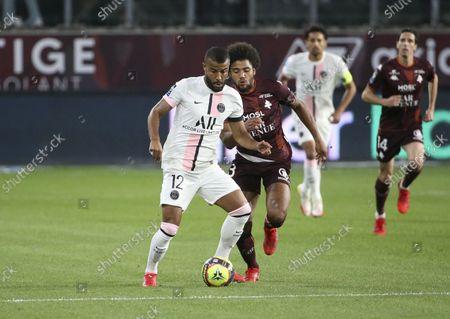 Rafael Alcantara aka Rafinha of PSG, Matthieu Udol of FC Metz
