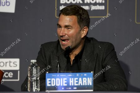 Eddie Hearn during the press conference ahead of Joshua v Usyk