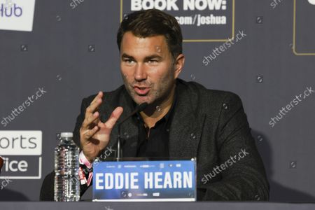 Eddie Hearn during the Press Conference ahead of the Joshua v Usyk fight