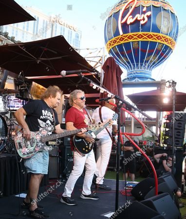 Mark Anthony, Sammy Hagar, Vic Johnson. Rock Legend Sammy Hagar launches Sammy's Beach Bar Cocktail Co. with Unprecedented Rooftop Performance By The Circle on the Las Vegas Strip at Beer Park Paris Las Vegas.