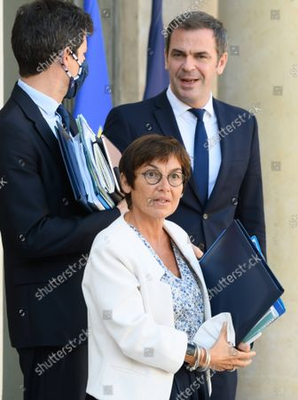 French Agriculture Minister Julien Denormandie, French Seas Minister Annick Girardin and French Health and Social Affairs Minister Olivier Veran