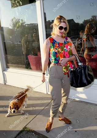 Stock Image of Mischa Barton with her dog