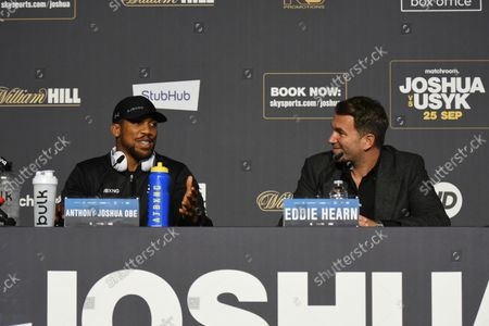 Anthony Joshua and Eddie Hearn during a Press Conference at Tottenham Hotspur Stadium on 23rd September 2021