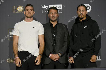 Callum Smith (L), Eddie Hearn and Lenin Castillo during a Press Conference at Tottenham Hotspur Stadium on 23rd September 2021