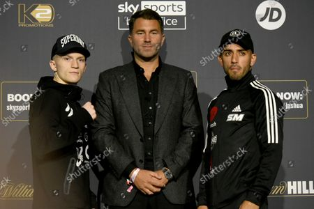 Campbell Hatton (L), Eddie Hearn and Sonni Martinez during a Press Conference at Tottenham Hotspur Stadium on 23rd September 2021