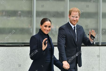 「Prince Harry and Meghan Duchess of Sussex visit One World Observatory, One World Trade Center, New York, USA - 23 Sep 2021」的報導類影像