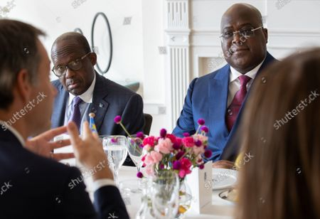 Prime Minister Alexander De Croo, Congolese Foreign Minister Christophe Lutundula Apal, Congolese president Felix Tshisekedi and Belgian Prime Minister Sophie Wilmes pictured during the diner at Residence RP, in New-York, USA, in marge of the 76th session of the United Nations General Assembly (UNGA 76), in New York City, United States of America, Thursday 23 September 2021.