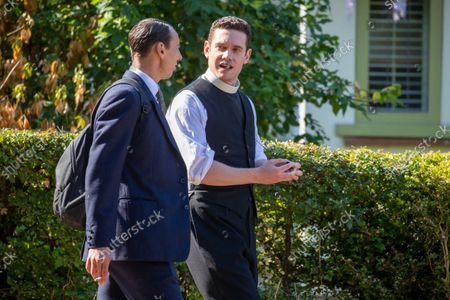 actor Tom Brittney (vicar) and Al Weaver filming the new series of the ITV drama Grantchester this week (Sept 16) in the village of Grantchester near Cambridge.