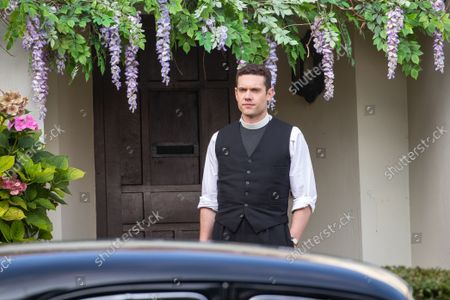 actor Tom Brittney (vicar) filming the new series of the ITV drama Grantchester this week (Sept 16) in the village of Grantchester near Cambridge.