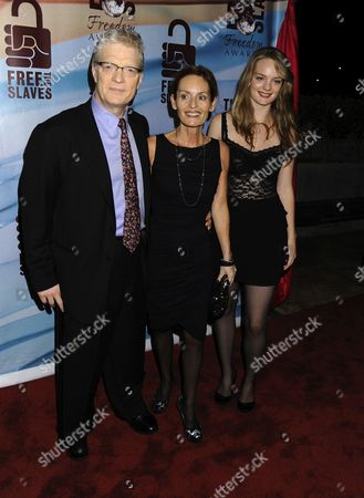 Stock Picture of Ken Robinson, Lady Marie-Therese Robinson and daughter Kate Robinson