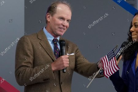 Team USA captain Steve Stricker speaks during the opening ceremony for the Ryder Cup at the Whistling Straits Golf Course, in Sheboygan, Wis