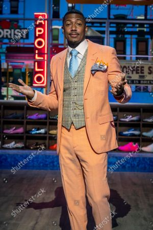 """Talk show host Nick Cannon poses for a portrait on the set of """"Nick Cannon"""" at Metropolitan Studios in New York on . His nationally syndicated daytime talk show premieres Sept. 27 on Fox Television Stations"""