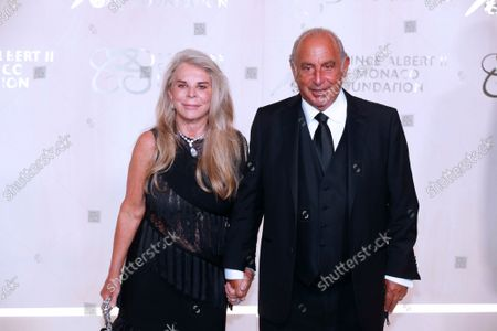 British businessman Sir Philip Green (R) and wife Lady Tina Green (L) attend the Monte-Carlo Gala for Planetary Health 2021 at the Monaco Palace, in Monaco, 23 September 2021. The Monte-Carlo Gala for Planetary Health, hosted by the Prince Albert II of Monaco Foundation, is dedicated to the ocean, earth and humanity.