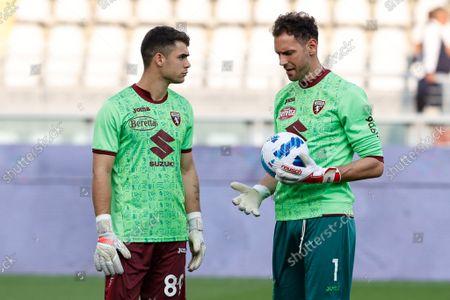 Stock Image of Etrit Berisha (Torino FC) and Luca Gemello (Torino FC) goalkeepers warm up