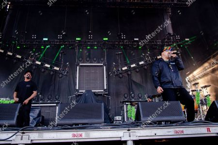 Sen Dog, left, and B-Real of Cypress Hill perform at Louder Than Life Festival 2021 at Highland Festival Grounds, in Louisville, Ky