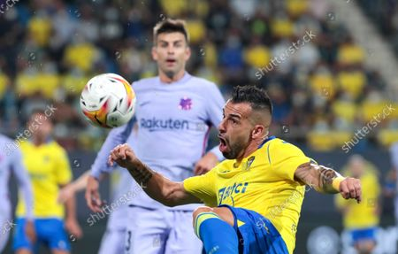 Cadiz's striker Alvaro Negredo controls the ball during the Spanish LaLiga soccer match between Cadiz CF and FC Barcelona at Nuevo Mirandilla stadium in Cadiz, Andalusia, Spain, 23 September 2021.