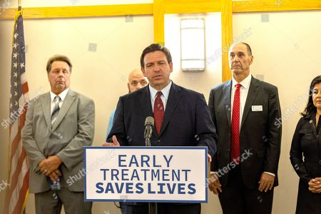 Stock Image of Ron DeSantis speaking to the press about new doses of Mono-Clodal Antibodies that will be availible to Floridians