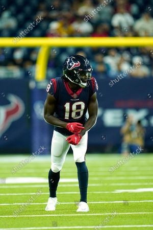 Houston Texans wide receiver Chris Conley (18) lines up for the snap during an NFL football game against the Carolina Panthers, in Houston