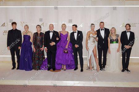 Stock Image of Lucas Bravo, Pom Klementieff, Princess Caroline of Hanover, Prince Albert II of Monaco, Sharon Stone, Orlando Bloom, a guest, Milutin Gatsby, Mâlanie Laurent and Gaspard Ulliel