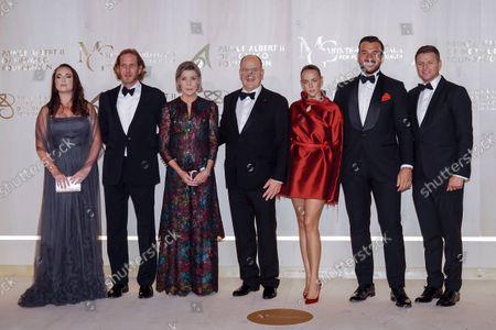Stock Photo of Roisin Galvin Wittstock, Andrea Casiraghi, Princess Caroline of Hanover, Prince Albert II of Monaco, Pauline Ducruet, Maxime Giaccardi and Gareth Wittstock