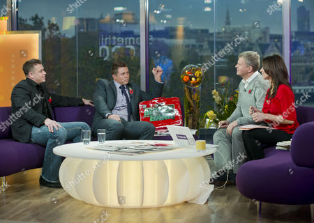 Alex Riley and Mike Mizanin with Adrian Chiles and Christine Bleakley