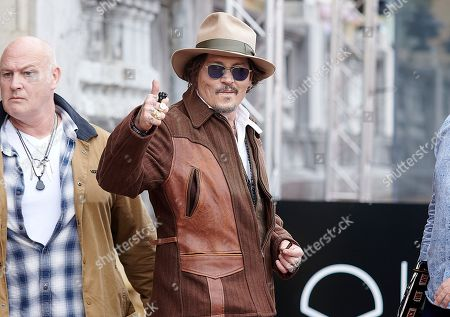 Johnny Depp leaves Maria Cristina hotel, 69th San Sebastian International Film Festival