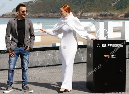 Alejandro Amenabar (L) and Spanish actress Ana Polvorosa pose (R) pose at the 69th edition of the San Sebastian International Film Festival (SSIFF) to present the TV series 'La Fortuna' out of competition in the Official Section within the Film Festival in San Sebastian, Spain, 24 September 2021. The festival runs from 17 to 25 September 2021.