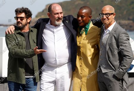 Manolo Solo, Karra Elejalde, British actress T'Nia Miller and US actor Stanley Tucci pose at the 69th edition of the San Sebastian International Film Festival (SSIFF) to present the TV series 'La Fortuna' out of competition in the Official Section within the Film Festival in San Sebastian, Spain, 24 September 2021. The festival runs from 17 to 25 September 2021.