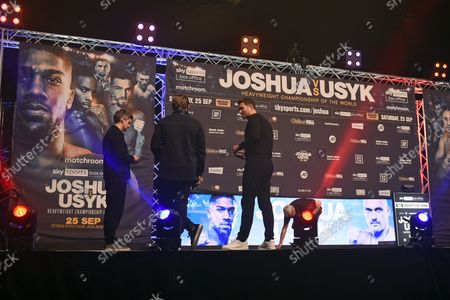 Eddie Hearn checks the stage ahead of a Weigh-In at The O2 London on 24th September 2021