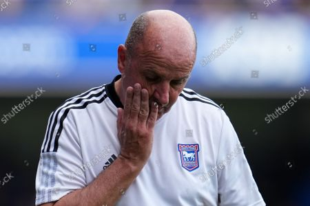 Ipswich Town Manager Paul Cook looks dejected at half-time