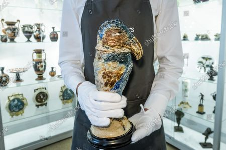 A Martin Brothers stoneware 'Wally-Bird' jar and cover, 1891, Estimate GBP 6,000 - GBP 8,000 - An Aesthetic Odyssey - The Peter Rose and Albert Gallichan Collection, at Christies King Street, London. It will be offered for sale in a live auction on 30 September 2021. The couple were pioneering collectors of 19th Century fine and decorative arts and this collection was assembled over the course of a lifetime from the 1950s onwards. Ensuring that the scholarly legacy of their life's work lives on, the proceeds from the sale  - which is expected to realise in excess of £1 million, with estimates starting from £500 - will benefit The Albert Dawson Educational Trust.