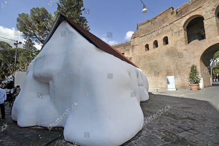 """The exhibition, """"Via Veneto Contemporanea"""", an open-air exhibition by Erwin Wurm, until November 14th. There are fourteen installations  by Erwin Wurm, in the street of the Dolce Vita, who returns to be the protagonist of the Roman cultural scene. Rome, Italy 24 Sept 2021"""