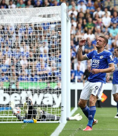 Jamie Vardy of Leicester City reacts after scoring own goal