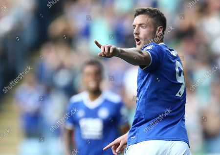 Jamie Vardy of Leicester City celebrates scoring his sides second goal