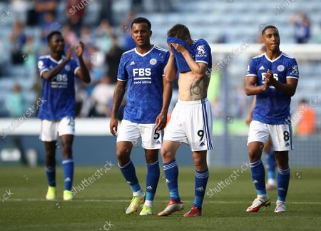 Jamie Vardy of Leicester City reacts after the match