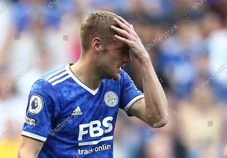 Jamie Vardy of Leicester City reacts