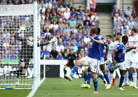 Jamie Vardy of Leicester City scores an own goal
