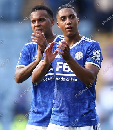 Youri Tielemans of Leicester City  and Ryan Bertrand  applaud the fans
