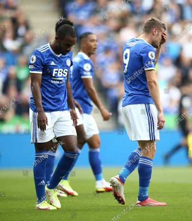 Jamie Vardy of Leicester City dejected after scoring an own goal