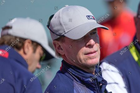 Team USA captain Steve Stricker watches from the third tee during a four-ball match the Ryder Cup at the Whistling Straits Golf Course, in Sheboygan, Wis